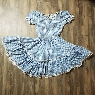 $49.88 • Buy Vintage Circle Dress Square Dance Swing Country Blue Gingham Womens Sz XS Small