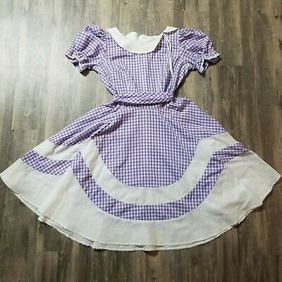 $49.88 • Buy Vintage Circle Dress Square Dance Swing Country Purple Gingham Womens Size 12