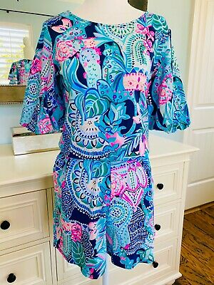 $59.99 • Buy Lilly Pulitzer Britton Romper Looking Sharp Green Pink Cactus Tropical XS