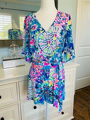 $59.99 • Buy Lilly Pulitzer Madilyn Romper Dive In White Neon Rainbow Coral Reef Tropical XS