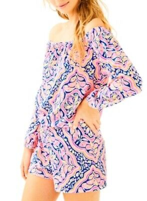 $49.99 • Buy Lilly Pulitzer Lana Off The Shoulder Romper Can't Resist Fish Orange Pink XXS