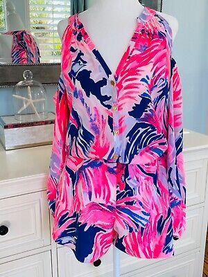$84.99 • Buy NWOT Lilly Pulitzer Elsa Silk Sunny Shoulder Romper Paradise Point Floral Small