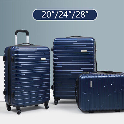 View Details 3 Piece Luggage Set Travel Suitcase Blue ABS+PC Nested Spinner W/ Cover  • 63.00$