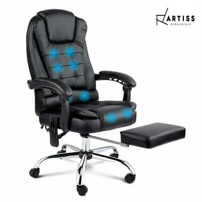 AU175.95 • Buy Artiss 8 Point Massage Office Chair Heated Reclining Gaming Chairs Black