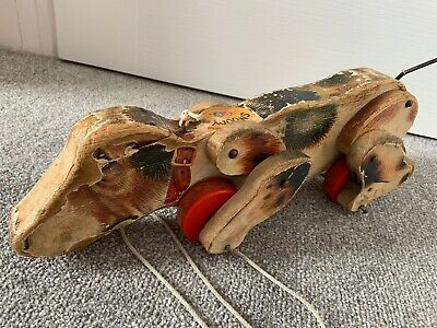 Vintage Wooden Fisher Price Toy Dog Snoopy • 24£