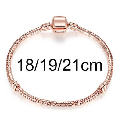 European Rose Gold Plated Charm Bracelets Stamped 925 Sterling Snake Chain • 5.25£
