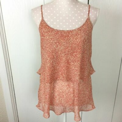 $15 • Buy CAbi Tiered Paprika Speckled Layered Chiffon Strappy Camisole Top Women's Size M
