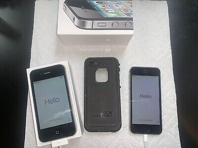 $ CDN70.71 • Buy Lot Of 2 APPLE IPHONE Black 4S 16GB With Box Plus Silver SE With Lifeproof Case