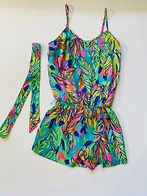 $49.99 • Buy Lilly Pulitzer Deanna Tank Romper Hot Spot Green Tropical Floral XS