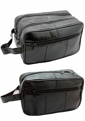 £9.95 • Buy  New Mens Soft Leather Toiletry Travel Wash Bag Travel Kit Overnight Gift