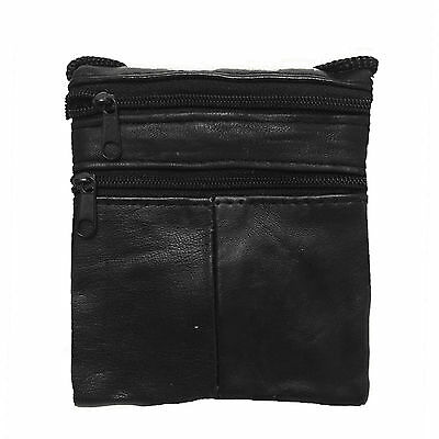 £2.75 • Buy Unisex Genuine Leather Cross Body Shoulder Bag Neck Pouch Bag With ID Holder