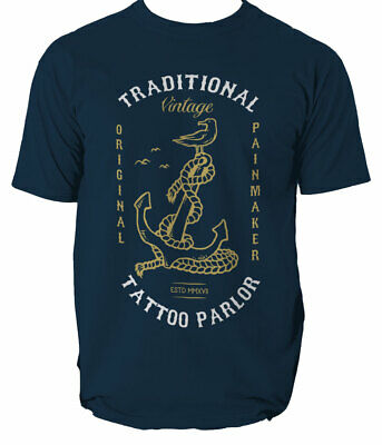 Anchor Bird Mens T Shirt Tattoo Vintage Sailer Fisherman S-3XL  • 11.99£