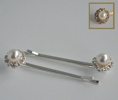 2 X Pearl & Crystal Hair Grips/slides.Diamante/rhinestone Flower- Wedding/bridal • 3.05£
