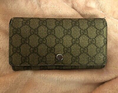 $69.99 • Buy Authentic Vintage Gucci Monogram Coated Canvas Bifold Wallet #120