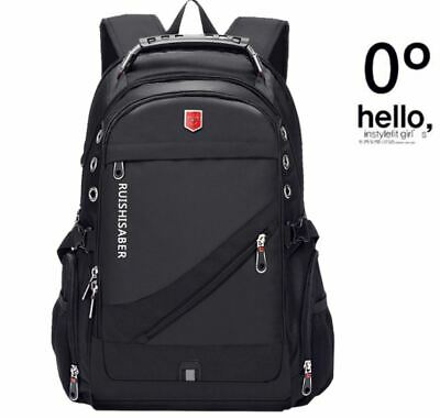 Oxford Swiss 17Inch Laptop Backpack Men USB Charging Waterproof Travel Backpack • 32.42£