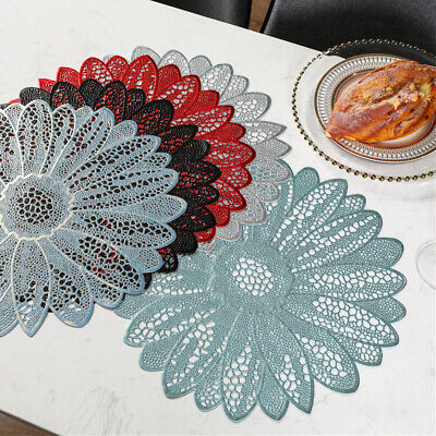 Set Of 4 Placemat PVC Flower Lace Dining Table Place Mat Insulated Pad Non Slip • 11.48£