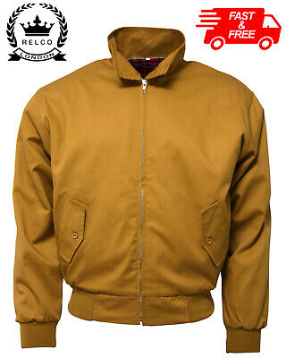 Relco Mens Harrington Jacket In Mustard With Tartan Lining Mod Vtg Skin Lined • 34.99£