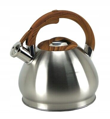 Whistling Kettle 3,5 L Stove Top Induction Gas Ceramic Electric  Silver Brown • 23£