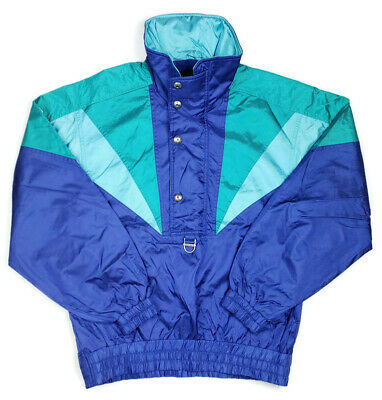$50.99 • Buy Descente Vintage 90's Mens L Windbreaker Rain Jacket Hidden Hood Colorblock Blue