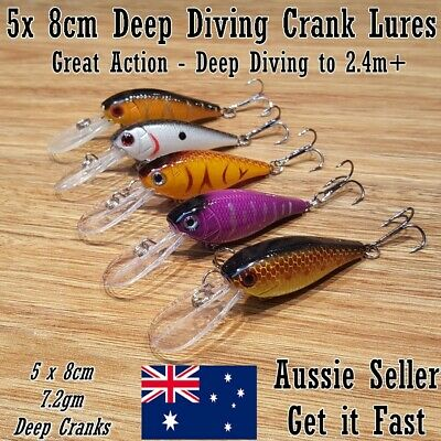 AU8.45 • Buy 5 Redfin & Bream Fishing Lures, Yellowbelly, Flathead, Bass, Perch, Trout, 8cm