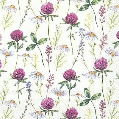 4 X Single Paper Napkins/3 Ply/Decoupage/Wild Flowers/Clover/Daisy • 1.25£