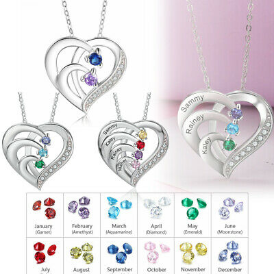 $15.99 • Buy 925 Silver Personalized Name Women Necklace Birthstone Pendant Chain Mom Present