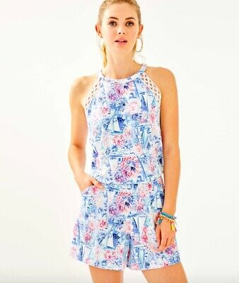 $50 • Buy NWT Lilly Pulitzer Lala Romper Crew Blue Sea To Shining Sea M