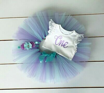 AU45 • Buy Mint & Lavender 3 Piece Cake Smash Outfit - First Birthday Tutu Set