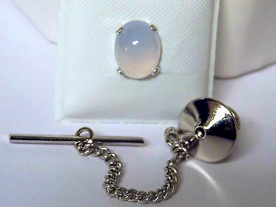 $30 • Buy Natural Blue Chalcedony 925 Sterling Silver Tie Bar Clip Clasp Chain Usa Made