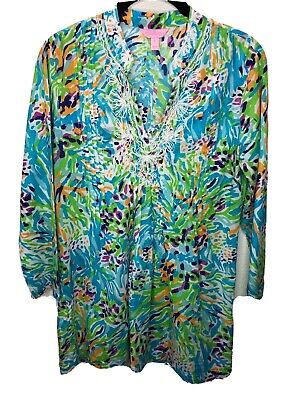 $18.35 • Buy Lilly Pulitzer Womens S Small Sarasota Printed Beaded Neck Tunic Top Blue Green