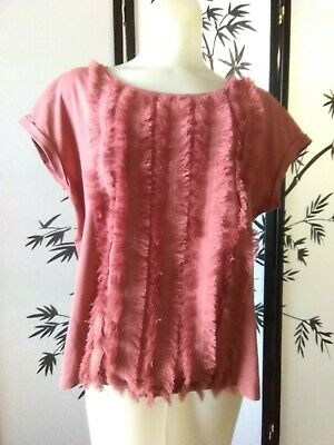 $2.60 • Buy Zara Womens Large Eyelash Frilly Front Top Blouse With Cuffed Short Sleeves