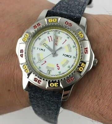 WATCH TIME FORCE 5463 SWISS DESIGN OROLOGIO UOMO DAY DATE VINTAGE Quarzo New • 22.66£