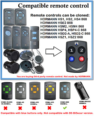 £11.96 • Buy Remote Control Duplicator Compatible With Hormann/Garador 868MHz. (Blue Buttons)