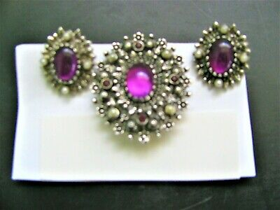 $11.95 • Buy Vintage Sarah Coventry Pin And Earring Set With Purple Cabochons