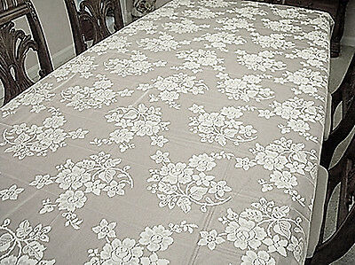 $37.50 • Buy Rose Bouquet 60x104 White Rectangle Lace Tablecloth Oxford House NWOT