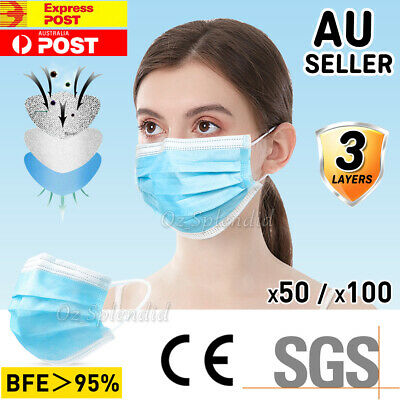 AU16.95 • Buy 10/20/50/100x Face Mask Protective 3 Layer Mouth Masks Anti Bacterial Filter SYD