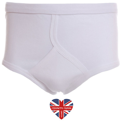 Mens Classic Traditional White Y-front, Interlock Pants, Briefs, 100% Cotton • 6.99£