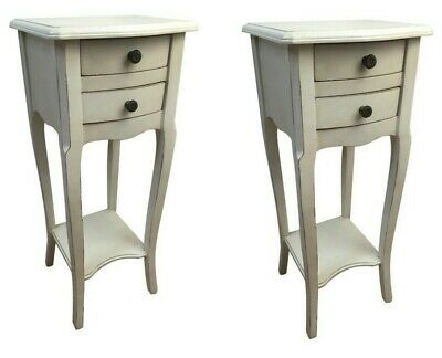 £129.50 • Buy Pair Rubbed White 2 Drawer Bedside Chest Bedroom French Furniture Shabby SECONDS