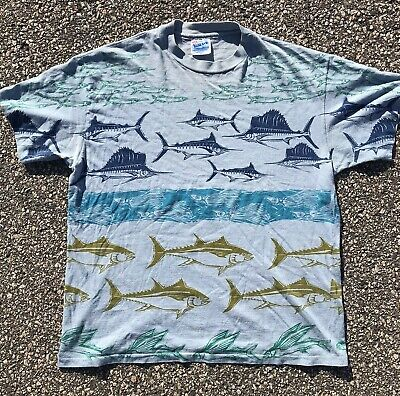 $ CDN56.42 • Buy Vintage All Over Print T Shirt Tropical Fish Design Mens Size L Hanes Beefy T