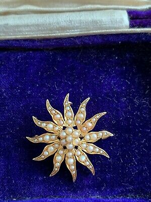 Antique Edwardian 15ct Gold Seed Pearl Pendant Brooch • 220£