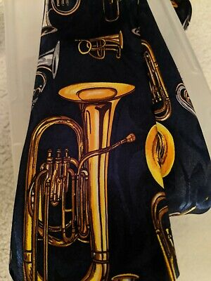 $5.99 • Buy Brass Instrument French Horn Trombone Trumpet Neck Tie Music Band Orchestra Blue