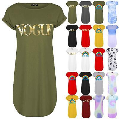 Womens Ladies Oversized Gold Foil Vogue Turn Up Sleeve Curved Hem Tunic T-Shirt • 5.99£
