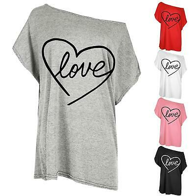 Ladies Oversized Batwing Sleeve Womens Heart Love Valentines  Baggy T-Shirt Top • 4.49£