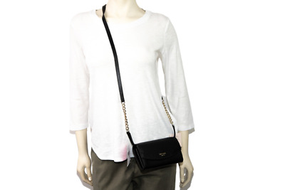 $ CDN98.80 • Buy Kate Spade Eva Leather Chain Crossbody Clutch Bag Wallet Black New With Tags