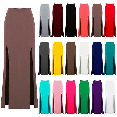 Womens Ladies High Waisted Double Split Skirt Casual Side Slit Long Maxi Skirts • 2.49£