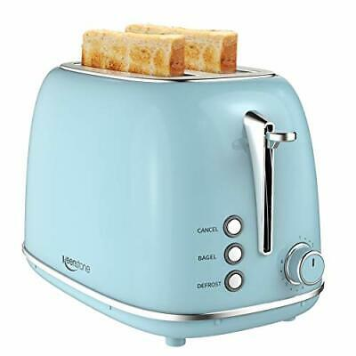 $65.70 • Buy 2 Slice Toaster Retro Stainless Steel Toaster With Bagel, Cancel, (Blue)
