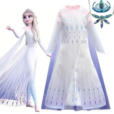 AU32.95 • Buy 2019 New Release Girls Frozen 2 Elsa White Costume Dress With Cape Size 2-10Yrs
