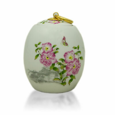 $37.95 • Buy Pink Peonies Ceramic Cremation Urn For Ashes - Extra Small  White
