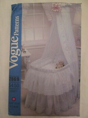 $16 • Buy Vogue 2869 Baby Bassinet Bedding Pattern Skirt Hood Cover Curtain Eyelet Lace UC