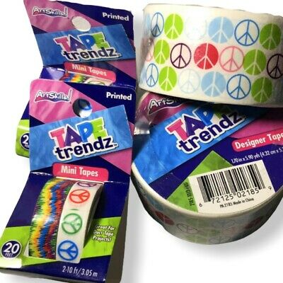 $15.55 • Buy ArtSkills Tape Trendz Duct Tape Colorful Peace Signs Designer Lot Regular Mini